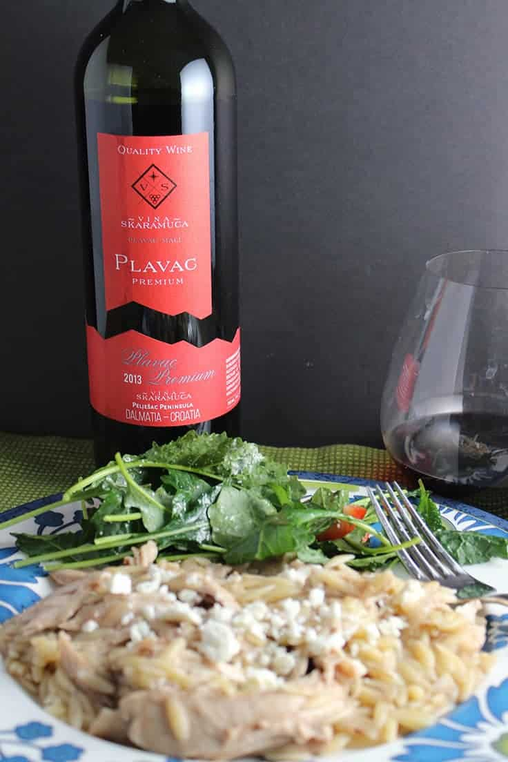 Plavac Mali red wine from Croatia is definitely something to try! Paired nicely with Middle Eastern Chicken Orzo