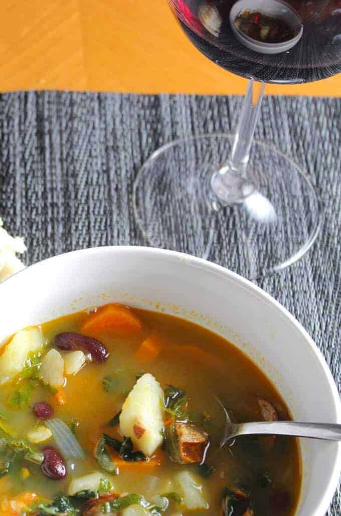 Kale Soup pairs perfectly with a Portuguese red wine blend.