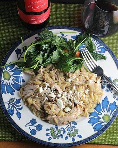 Middle Eastern Orzo Chicken Paired with a Plavac Mali red wine from Croatia.