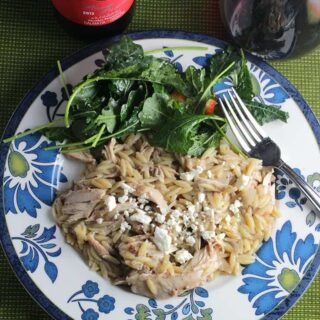 Middle Eastern Orzo Chicken has great cinnamon flavor, pairs very nicely with a red wine from Croatia.
