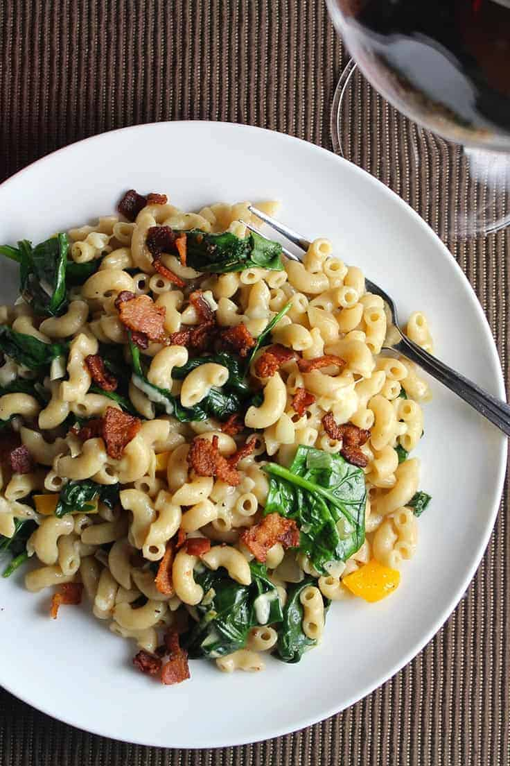 Pasta with Pecorino and Bacon recipe for a simple and tasty pasta dinner that also features some healthy spinach.
