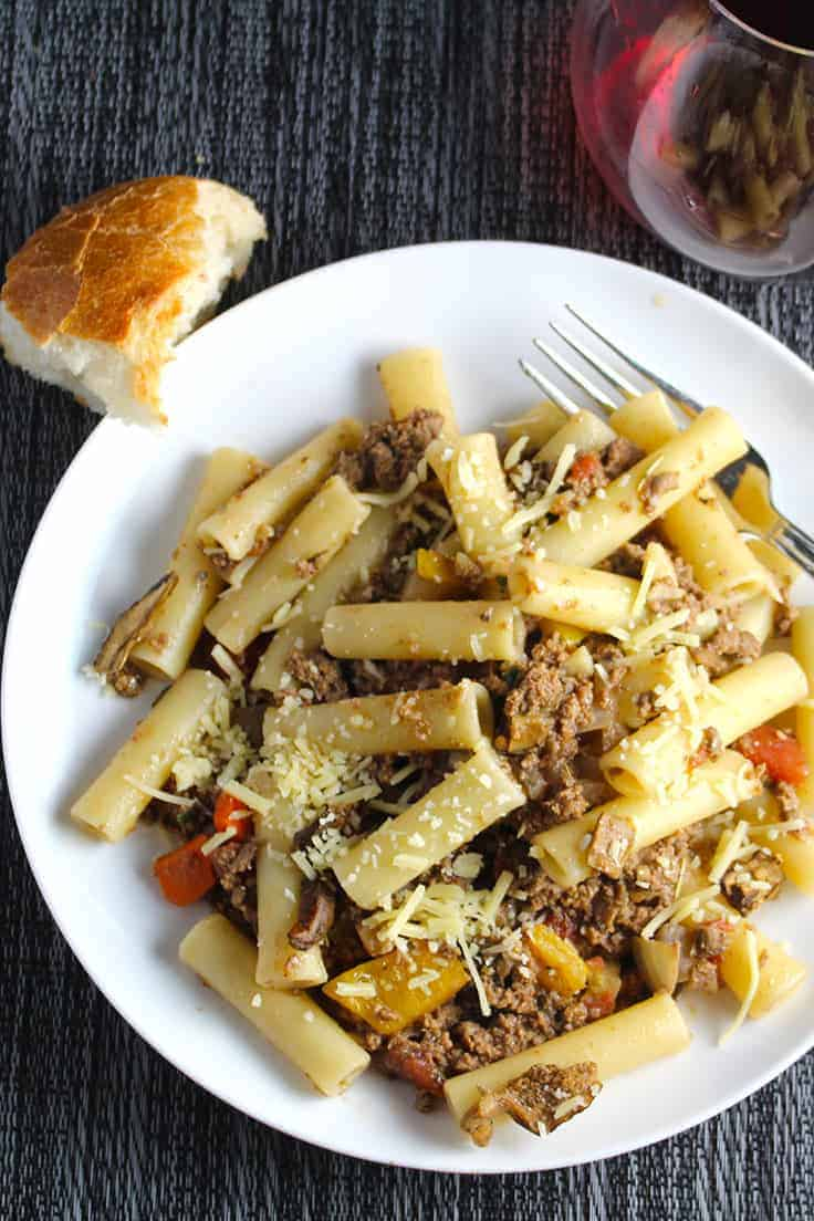 Ziti with Porcini Bolognese Sauce has a wonderful depth of flavor thanks to the wild mushrooms that simmer along with the meat. Must try!