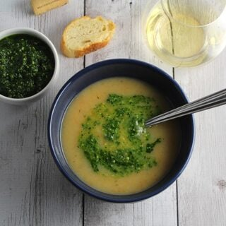 potato soup with kale pesto is a simple and healthy meal.