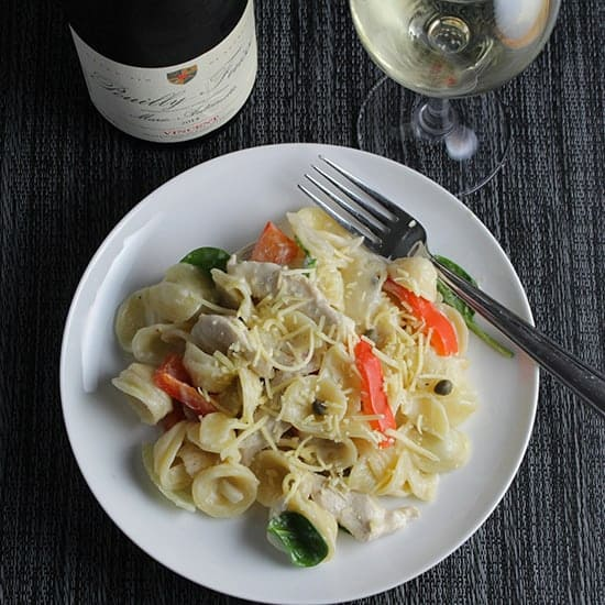 Goat Cheese Pasta and Chicken paired with a Pouilly-Fuissé wine from Burgundy.