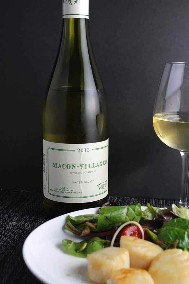 The Verget Macon-Villages is a white wine that pairs well with scallops and other seafood.