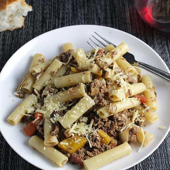 ziti with porcini bolognese sauce