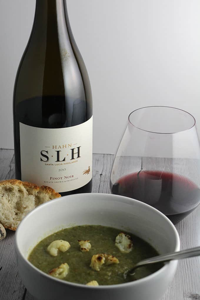 2013 Hahn Santa Lucia Highlands Pinot Noir is a very good wine, and pairs well with a cauliflower kale soup.