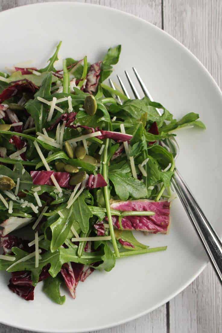 Arugula Salad with Maple Vinaigrette recipe has a delicious combination of peppery greens and a touch of sweetness from the dressing. Healthy and tasty!