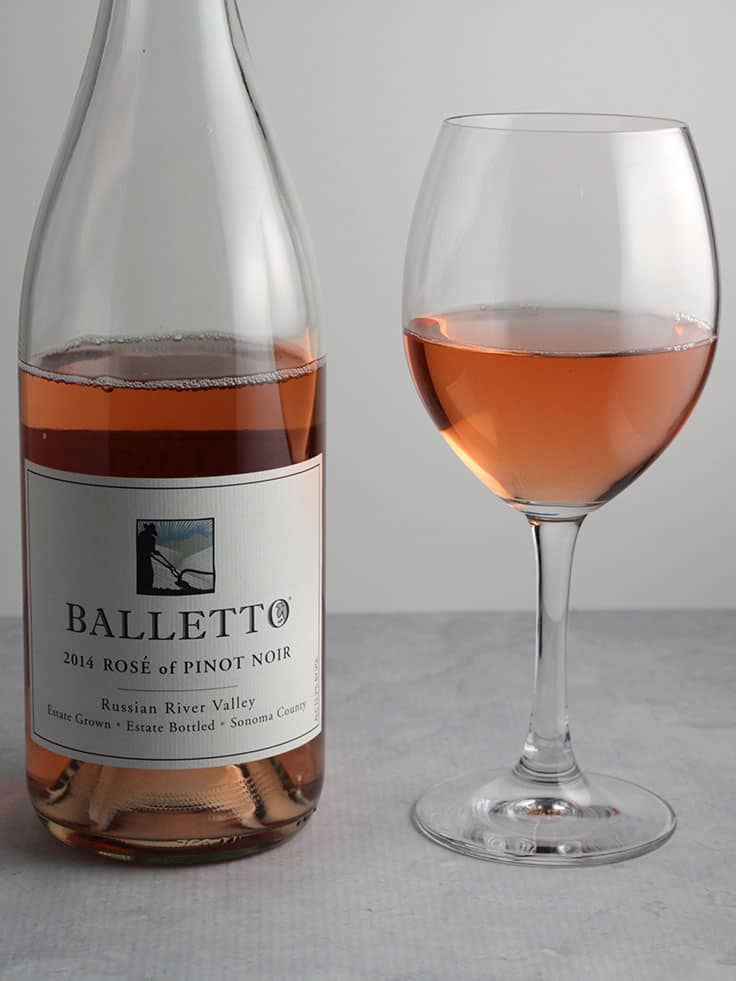 Balletto Rose of Pinot Noir from the Russian River Valley is a delicious wine, and pairs nicely with Baked Tandoori Chicken.
