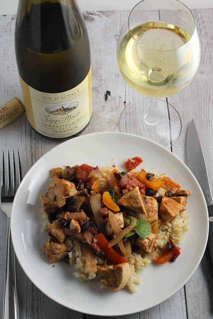 Chipotle Chicken and Black Beans recipe has some good spicy flavors, offset nicely by a white wine with a touch of sweetness.