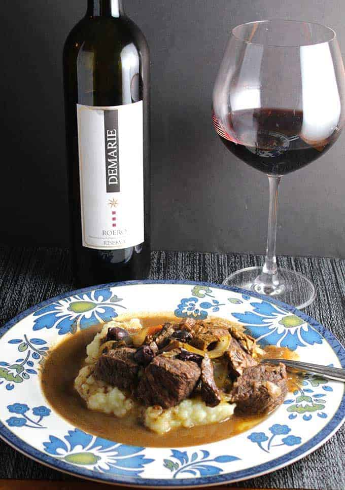 Beef stew with porcini mushrooms served with a Demarie Nebbiolo.