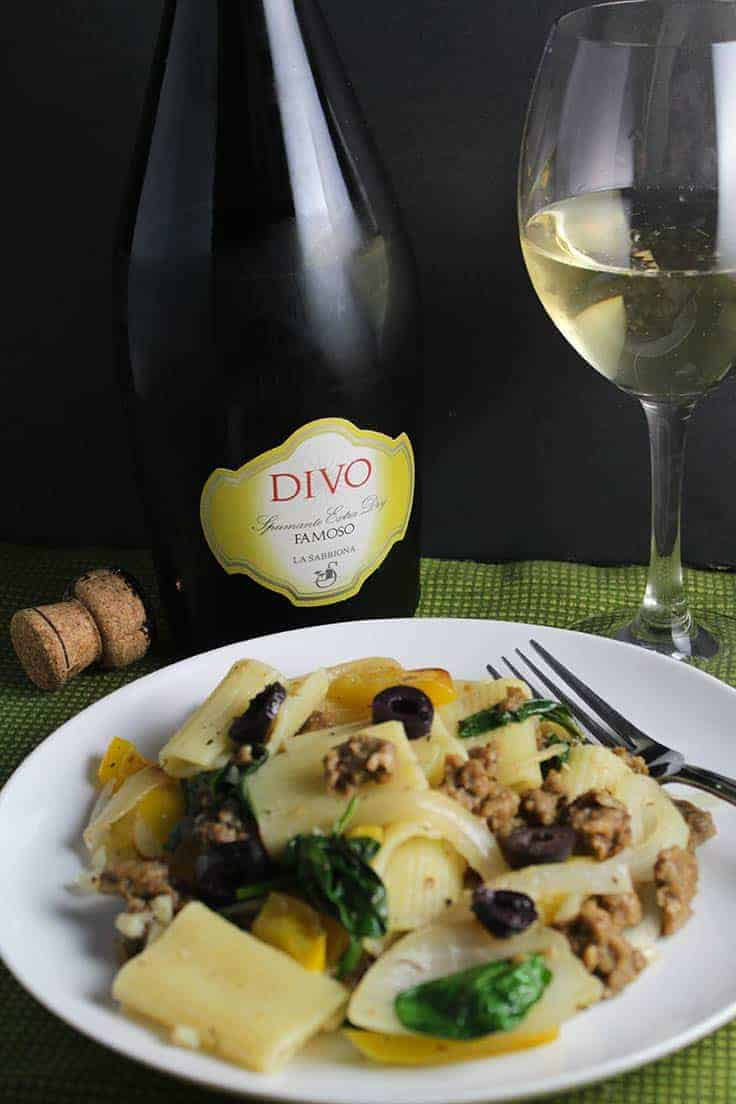 Italian sparkling wine made from the Famoso grape can be a good pairing for a pasta dish made with sausage or seitan.