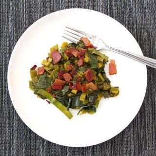 Sautéed Leek Greens with Bacon