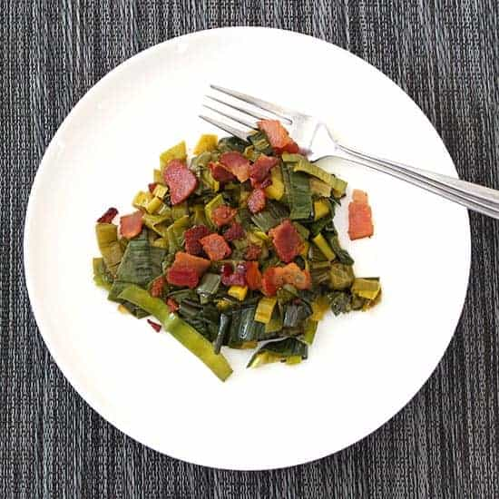 Leek Greens with Bacon recipe makes great use of dark green leek tops.