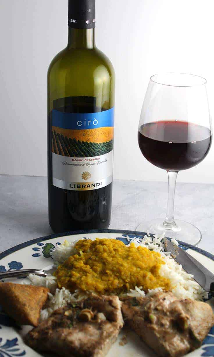 Librandi Ciro Rosso Classico is a very good red wine from Calabria, and it pairs well with tandoori chicken.