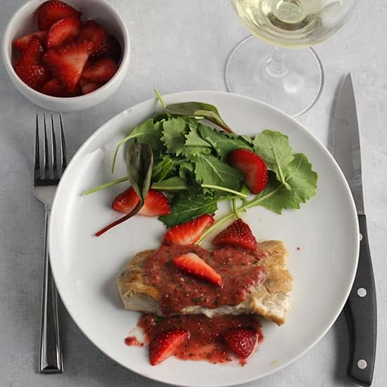 Mahi Mahi with Strawberry Sauce.