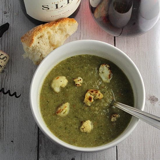 Roasted Cauliflower Kale Soup, tasty vegetarian recipe.