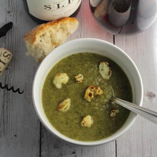 Roasted Cauliflower Kale Soup Paired with Pinot