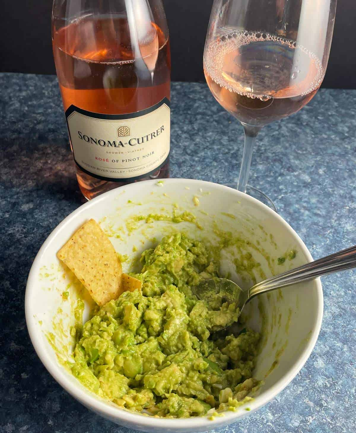 Sonoma-Cutrer Rosé wine paired with guacamole.