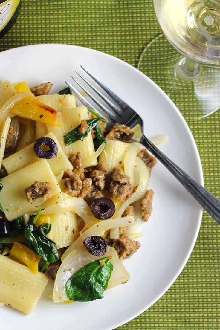 Seitan Rigatoni With Onions And Peppers Is A Tasty Healthy Vegetarian Pasta Recipe Plenty