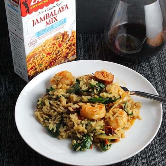 Turkey Sausage and Shrimp Jambalaya with some help from a Zatarain's mix.