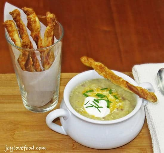 Irish Colcannon Soup with Cheddar Straws, picked for Irish food roundup.