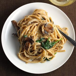 Lightened Creamy Mushroom Linguine with Spinach