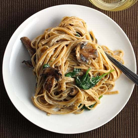 Lightened Creamy Mushroom Linguine with Spinach | Cooking Chat