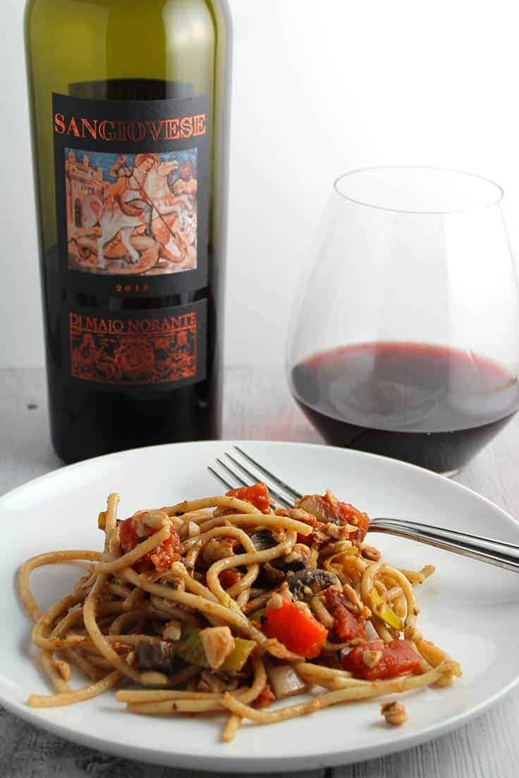 Sangiovese with Pasta and Meatless Meat Sauce is a very good Molise wine pairing to try.