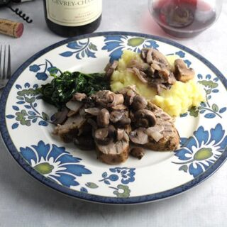 pork tenderloin with mushrooms and a Burgundy