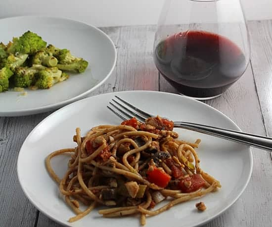 Roasted Romanesco served with pasta and a red Italian wine.