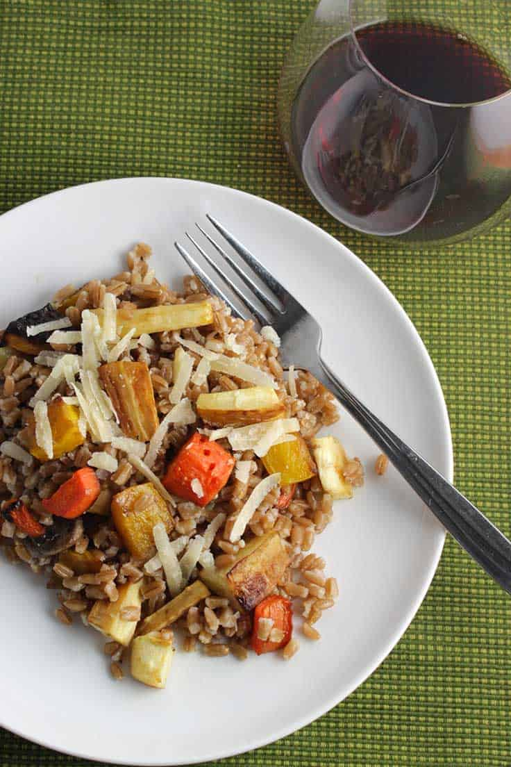 Roasted Root Vegetable Farro recipe, tossed with Parmigiano cheese, makes a substantial side dish or vegetarian main dish.