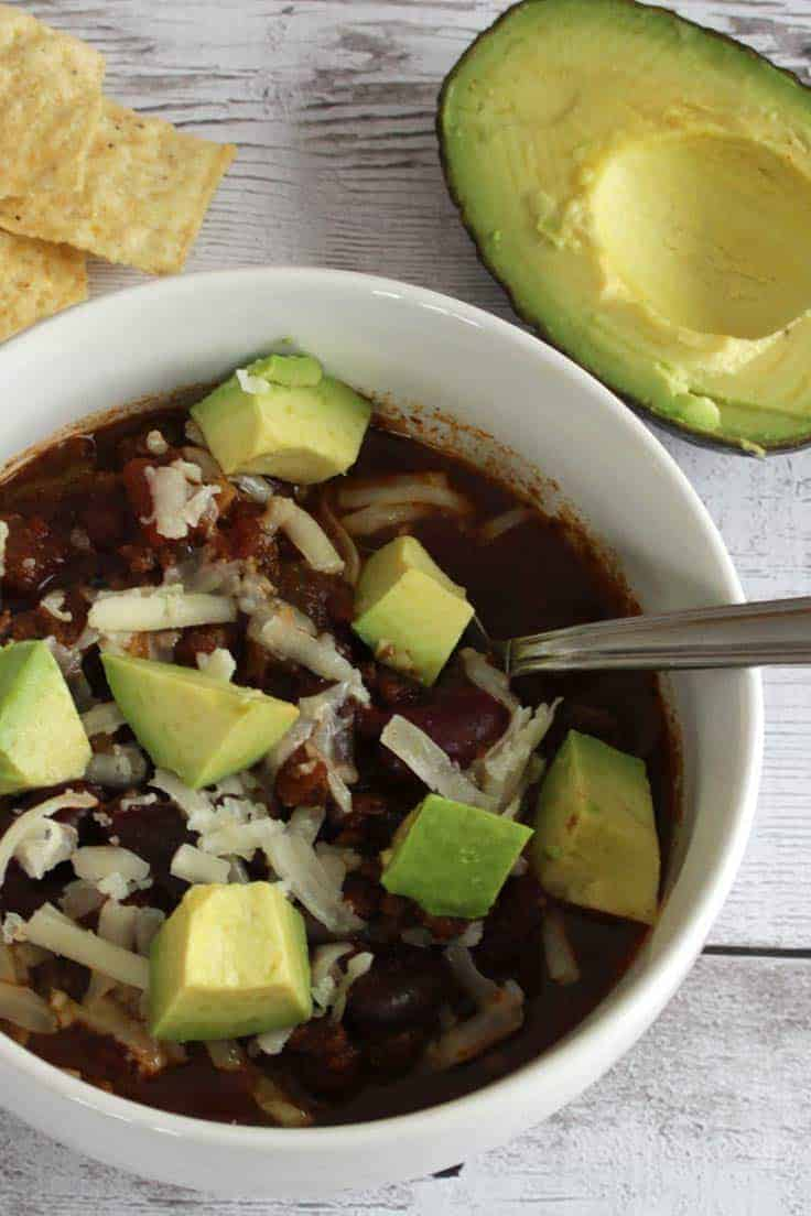 Slow Cooker Turkey Chili Topped with Avocado is an easy and healthy dinner recipe.