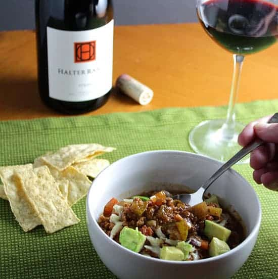 Turkey Chili paired with a Syrah red wine.