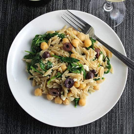 greek orzo with spinach, feta and olives