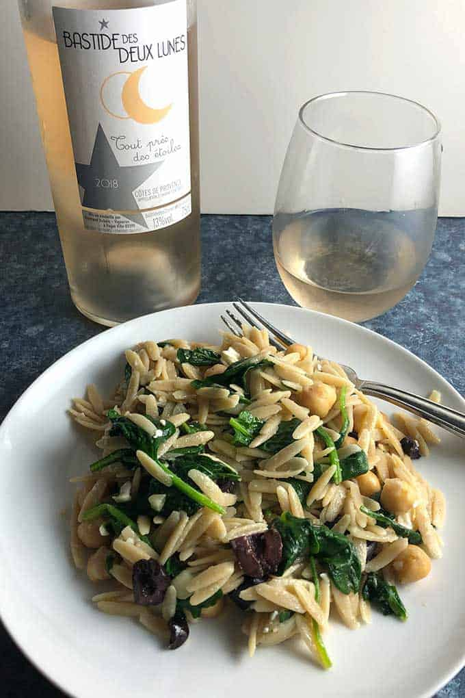 A Provence rosé wine is a good pairing for Greek Orzo with Spinach and Feta.