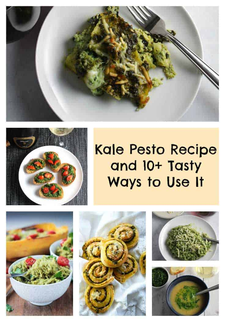 Easy and healthy kale pesto recipe with 10 plus creative ideas for using it for your next dinner.