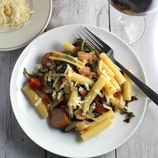 pasta with chicken sausage and kale paired with a red Italian wine.