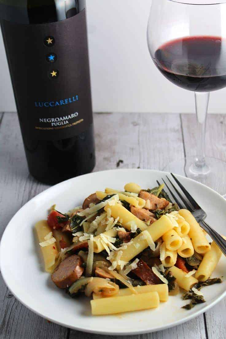 Pasta with Chicken Sausage and Kale makes a healthy and tasty pasta dish. Even better with a good Italian red wine!