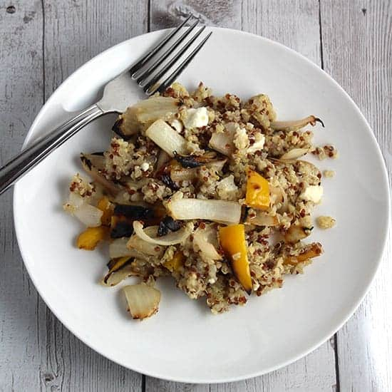 quinoa with grilled onions and peppers.