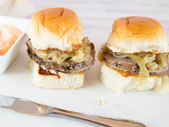 peppered pork sliders from Joy in Every Season for grilled onions and peppers roundup.