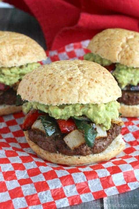 Fajita Burgers from Two Healthy Kitchens, from grilled onions and peppers roundup.