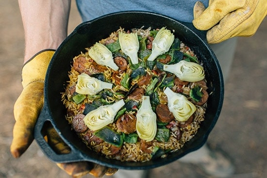 Artichoke & Poblano Campfire Paella from Fresh Off the Grid, from grilled onions and peppers roundup.