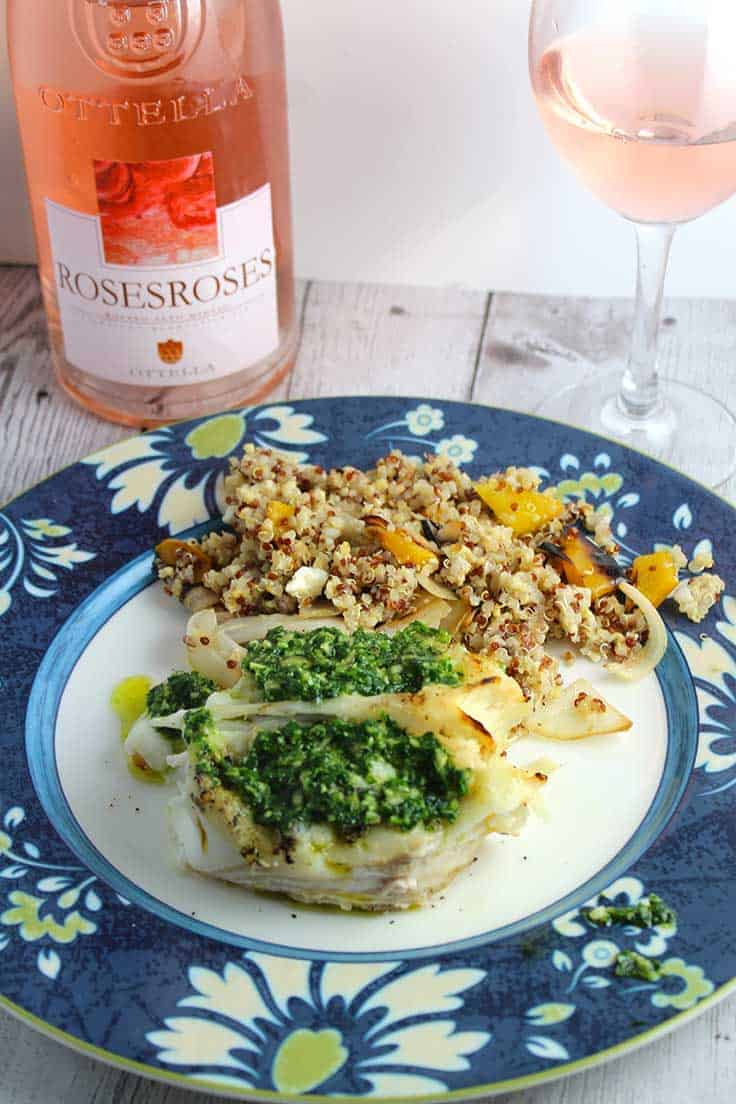 Grilled Halibut with Parsley Pesto is an easy and healthy recipe to make for dinner. Delicious paired with a rosato wine from Italy.