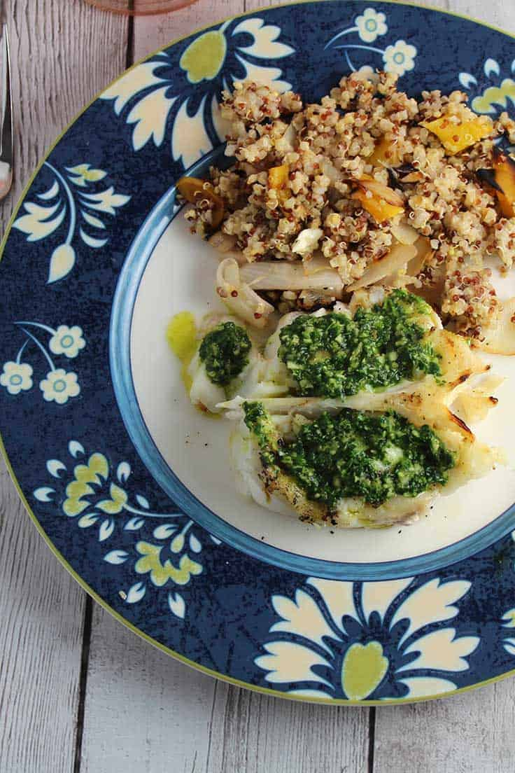 Grilled Halibut with Parsley Pesto and a side of quinoa makes for a healthy dinner.