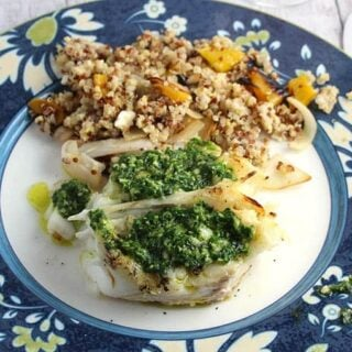 Grilled Halibut with Parsley Pesto and a Rosato Wine