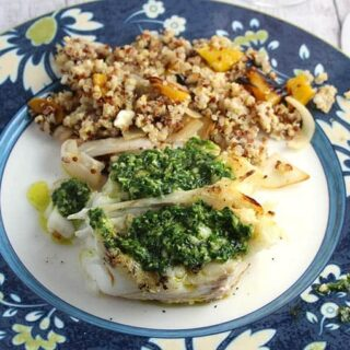 grilled halibut with parsley pesto