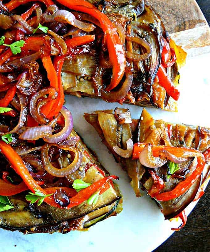 Rainbow Spanish Tortilla from opticook, included in grilled onions and peppers roundup.