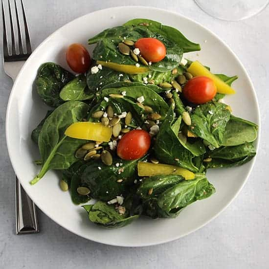 spinach salad with simple vinaigrette.