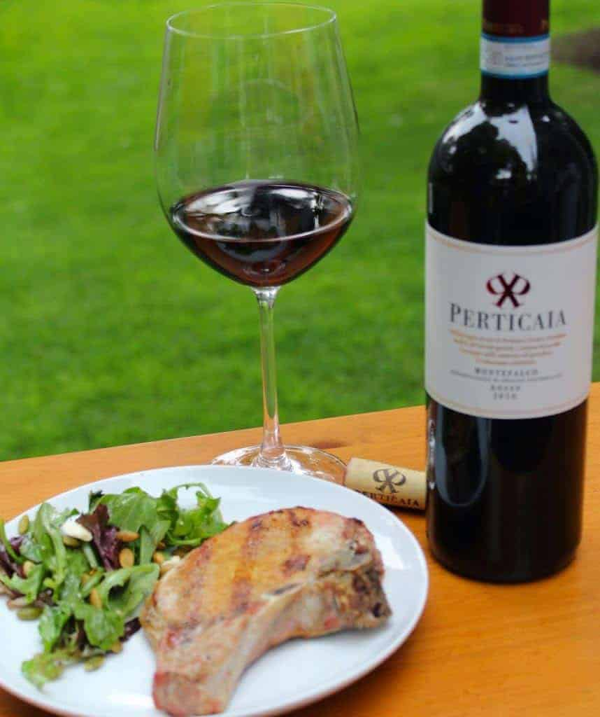 Heaven Sent Grilled Pork Chops with wine pairing.